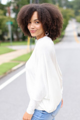 Oversized Asymmetrical Top in White Side View