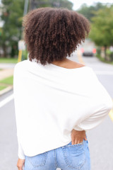 Oversized Asymmetrical Top in White Back View
