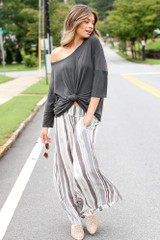 Ivory - Striped Wide Leg Pants