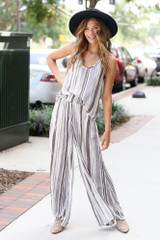 Ivory - Striped Wide Leg Pants from Dress Up