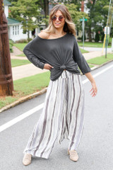 Dress Up model wearing Striped Wide Leg Pants