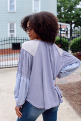 Oversized Color Block Top Back View
