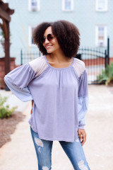 Model wearing an Oversized Color Block Top