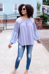 Dress Up model wearing an Oversized Color Block Top