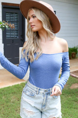Model wearing an Off-the-Shoulder Bodysuit