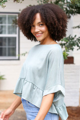 Ruffled Oversized Top Side View
