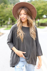 Black - Oversized Soft Knit Top Front View