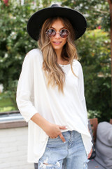 White - Model wearing an Oversized Soft Knit Top