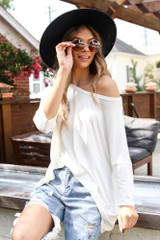 White - Dress Up model wearing an Oversized Soft Knit Top