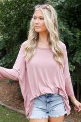 Mauve - Model wearing an Oversized Soft Knit Top with denim shorts