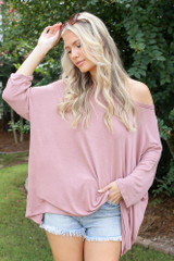 Mauve - Dress Up model wearing an Oversized Soft Knit Top with denim shorts