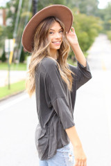 Oversized Soft Knit Top in Black Side View