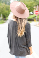 Oversized Soft Knit Top in Black Back View