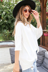 Oversized Soft Knit Top in White Side View