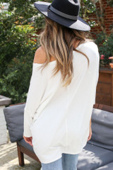 Oversized Soft Knit Top in White Back View