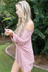 Oversized Soft Knit Top in Mauve Side View