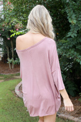 Oversized Soft Knit Top in Mauve Back View