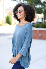 Oversized Soft Knit Top in Teal Side View