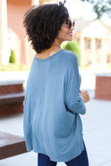 Oversized Soft Knit Top in Teal Back View