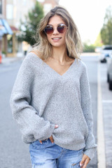Heather Grey - Model wearing an Oversized Sweater with skinny jeans