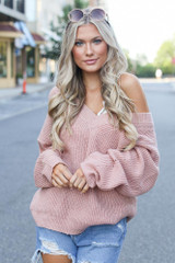 Blush - Dress Up model wearing an Oversized Sweater with a lace bralette