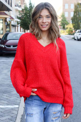 Red - Oversized Sweater Front View