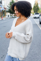 Oversized Sweater in Light Grey Side View