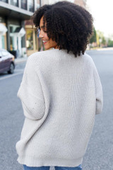 Oversized Sweater in Light Grey Back View