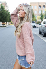 Oversized Sweater in Blush Side View