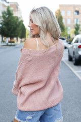 Oversized Sweater in Blush Back View