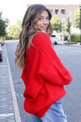Oversized Sweater in Red Side View