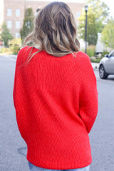 Oversized Sweater in Red Back View