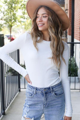 White - Model wearing a Ribbed Knit Top