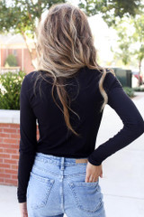 Ribbed Knit Top in Black Back View