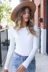 Ribbed Knit Top in White Front View