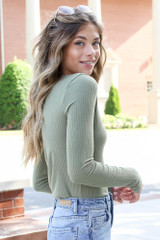Ribbed Knit Top in Olive Side View
