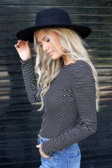 Ribbed Knit Top in Black/White Side View