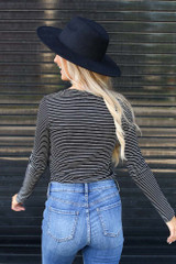 Ribbed Knit Top in Black/White Back View