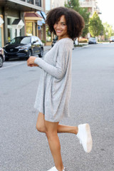 Oversized Brushed Knit Top in Heather Grey Side View