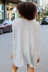 Oversized Brushed Knit Top in Heather Grey Back View