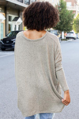Oversized Brushed Knit Top in Sage Back View
