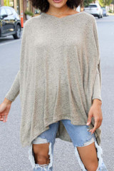 Close Up of an Oversized Brushed Knit Top in Sage