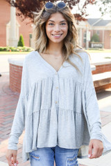 Model wearing a Tiered Babydoll Top