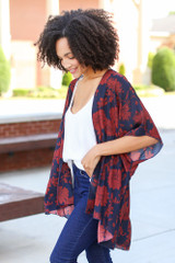 Navy - Floral Kimono from Dress Up