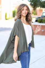 Lightweight Kimono in Olive Side View