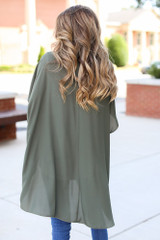 Lightweight Kimono in Olive Back View