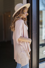 Lightweight Kimono in Taupe Side View