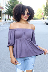 Purple - Textured Off-the-Shoulder Top from Dress Up