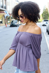 Textured Off-the-Shoulder Top in Purple Side View