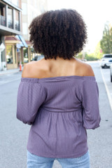 Textured Off-the-Shoulder Top in Purple Back View